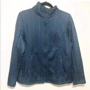 Boston Traders Turquoise Cable Knit Zip Jacket